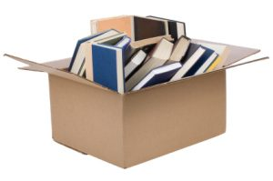 Image of a box filled with books.