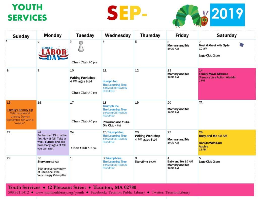 September 2019 Youth Services Calendar