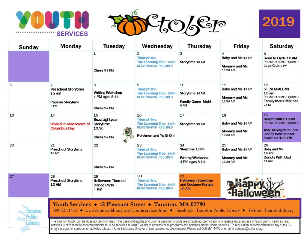 Calendar version of Youth Services events in October. Click the image or the link below it for a text version of the newsletter.