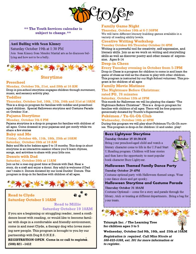 Image of October Youth Services newsletter. Click image to see text-only version.