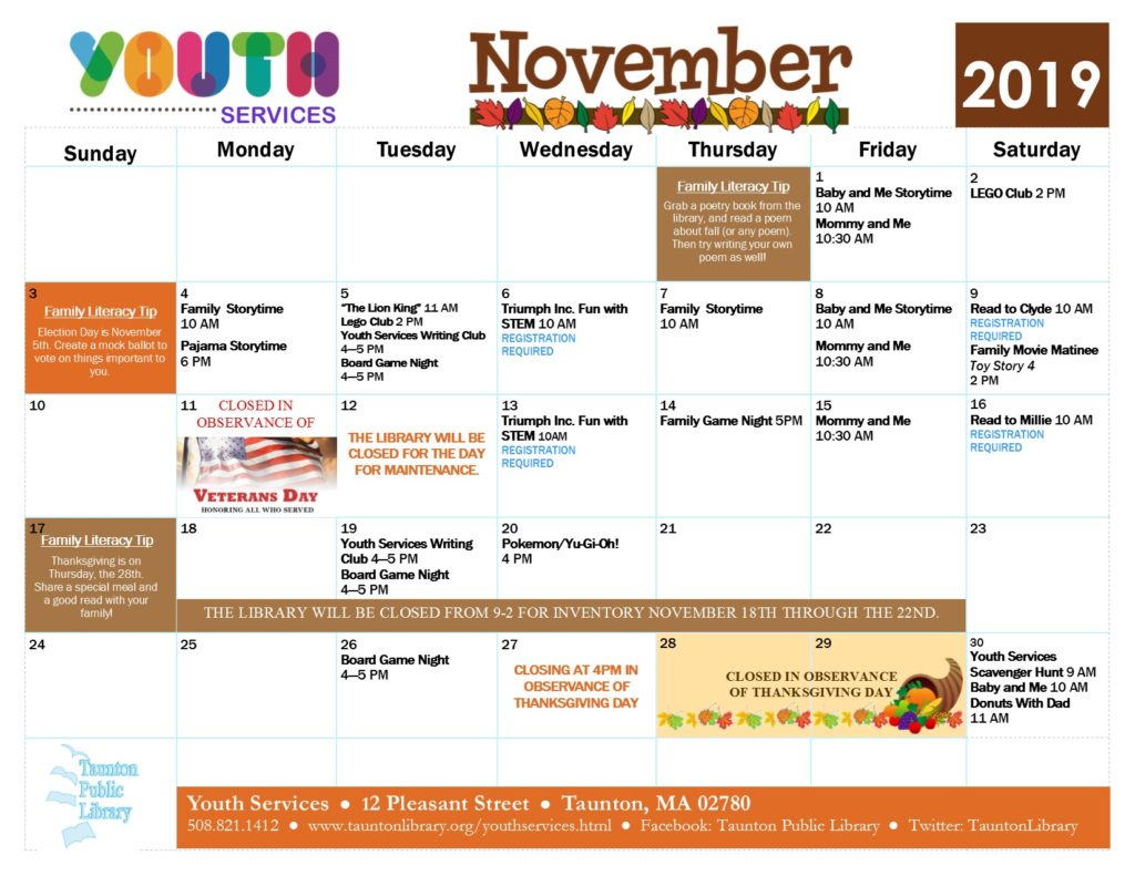 Calendar version of Youth Services events in November. Click the image or the link below it for a text version of the newsletter.