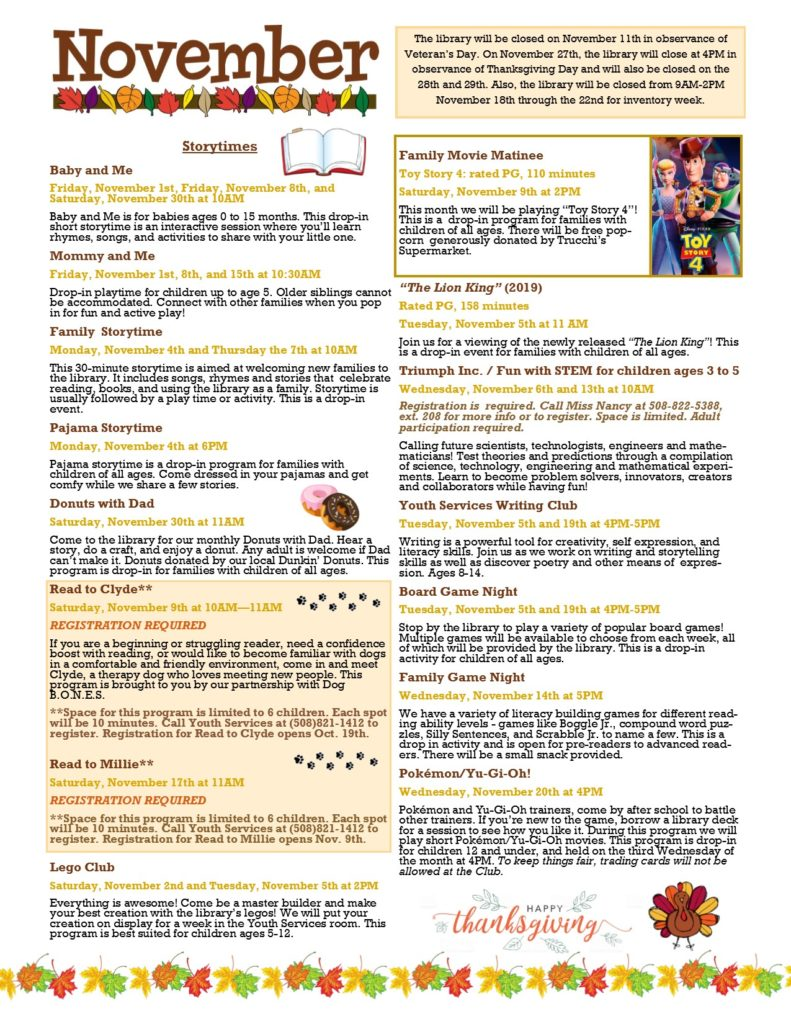 Image of the November Youth Services Calendar, click the image to be linked to a version of the newsletter.