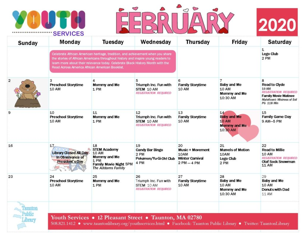 Calendar version of the February Youth Services events. click the image to go to  a text version of our newsletter.