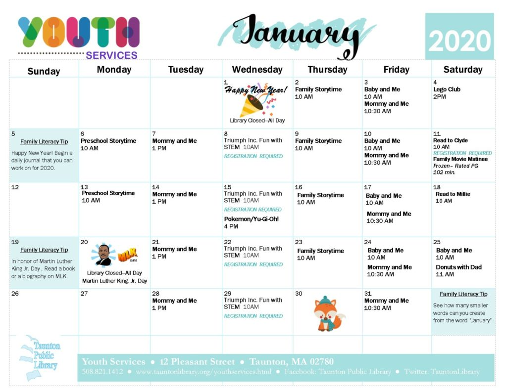 Calendar version of the January Youth Services events. click the image to go to  a text version of our newsletter.