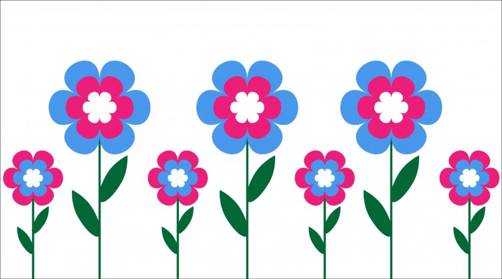 image of pink and blue flowers