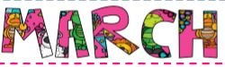 image of the word MARCH, filled in with different colors