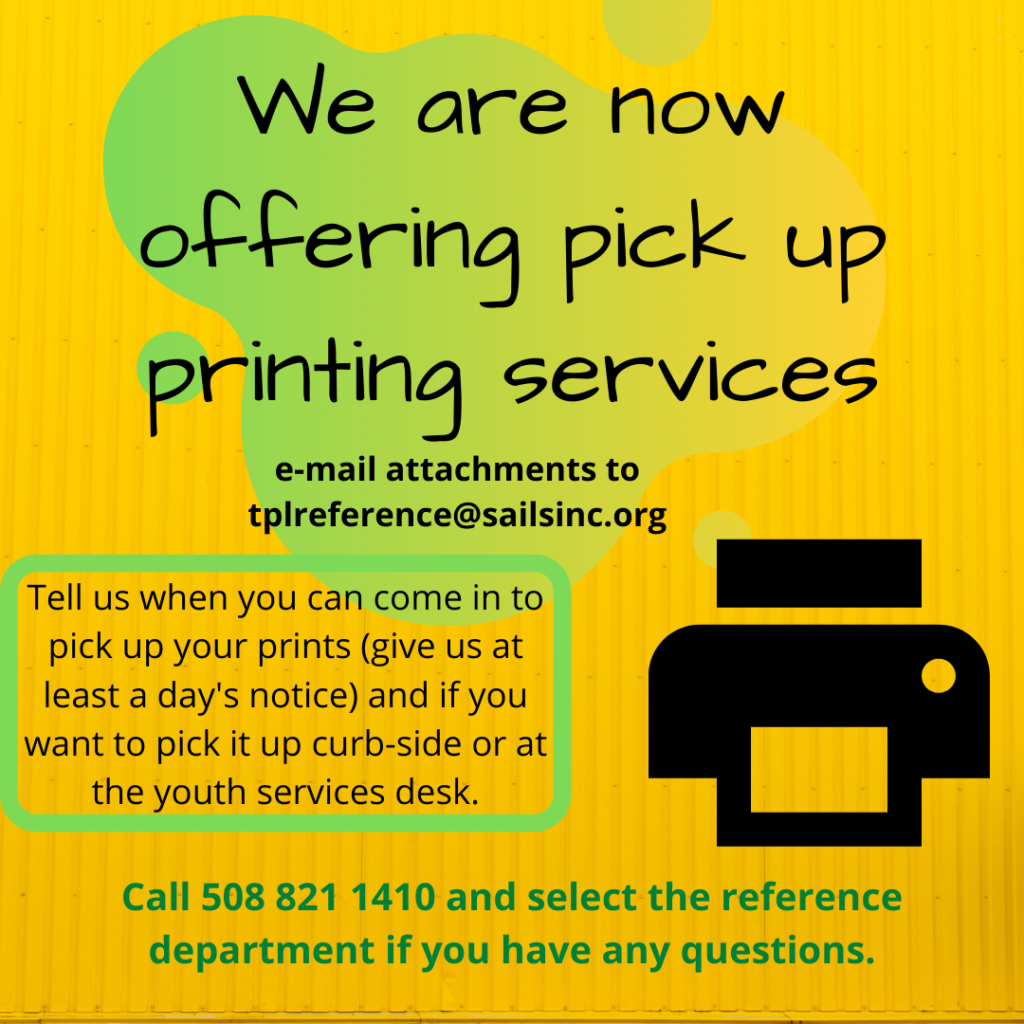 We are now offering printing services! Text below contains text from image.