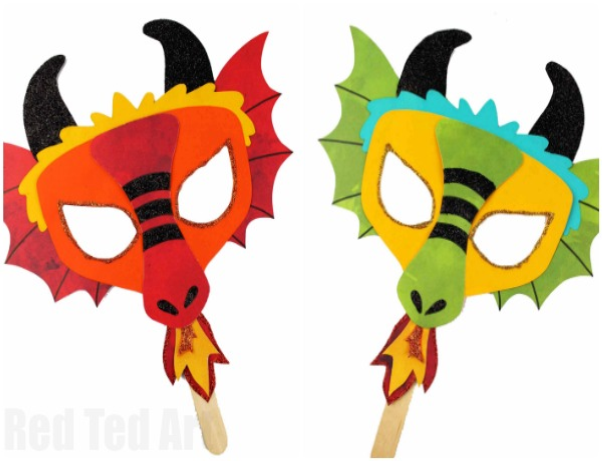 image of colorful dragon masks