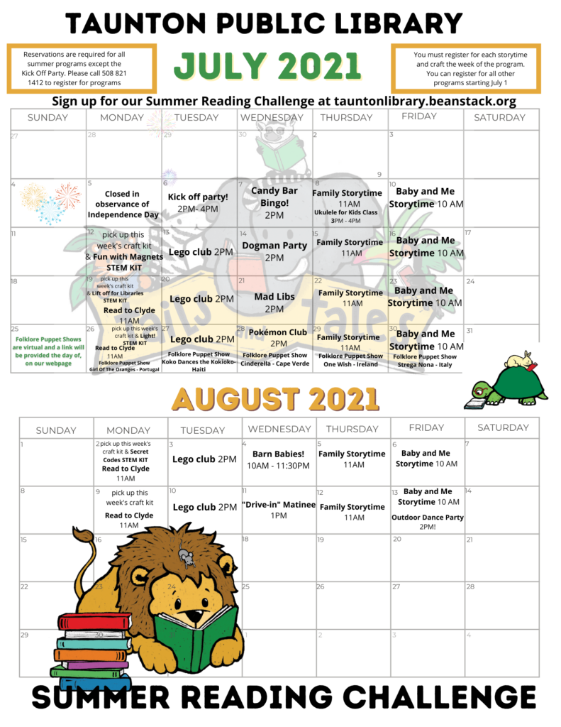 Summer 2021 Calendar, a text version is available at the URL in the caption