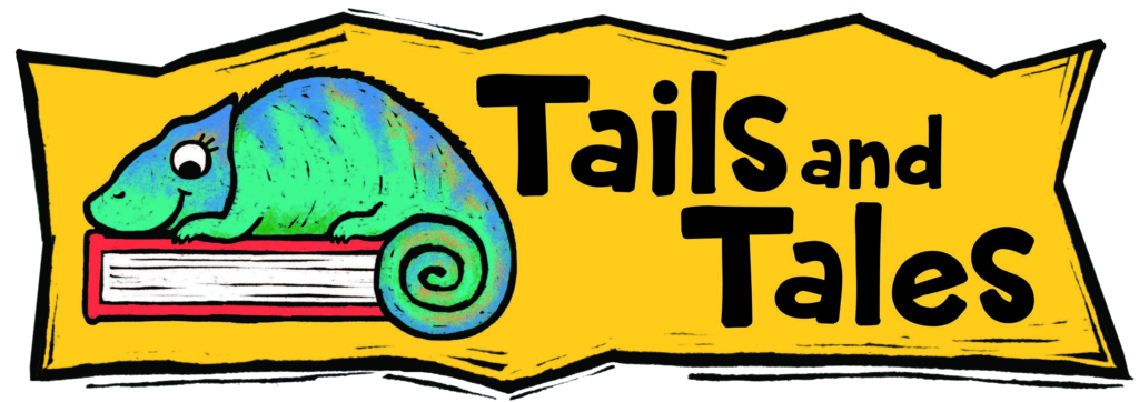 yellow background with green blue chameleon sitting on a book, text reads: Tails and Tales